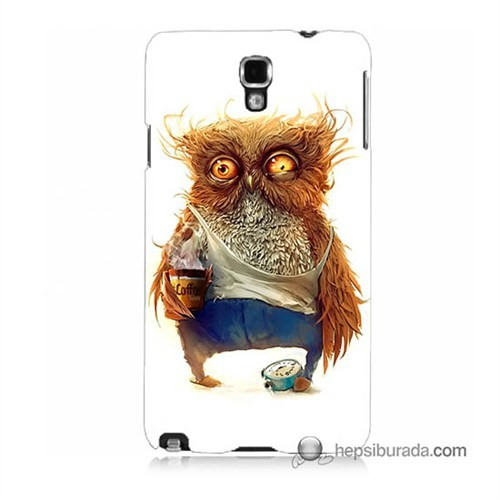 Teknomeg Samsung Galaxy Note 3 Neo Kapak Kılıf Miskin Baykuş Baskılı Silikon