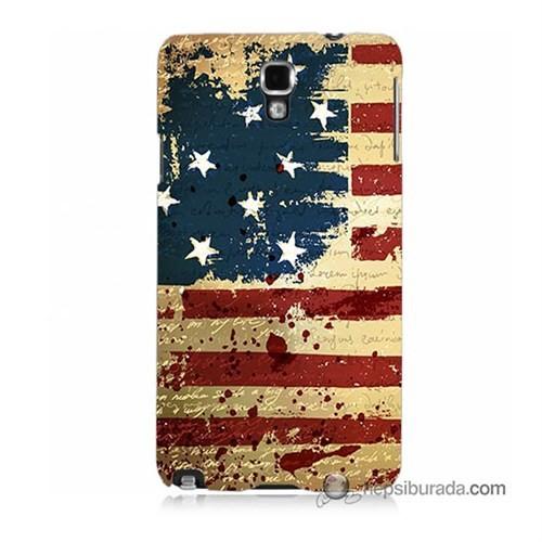 Teknomeg Samsung Galaxy Note 3 Neo Kılıf Kapak Amerika Bayrağı Baskılı Silikon