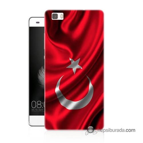 Teknomeg Huawei P8 Lite Kapak Kılıf Türkiye Bayrağı Baskılı Silikon