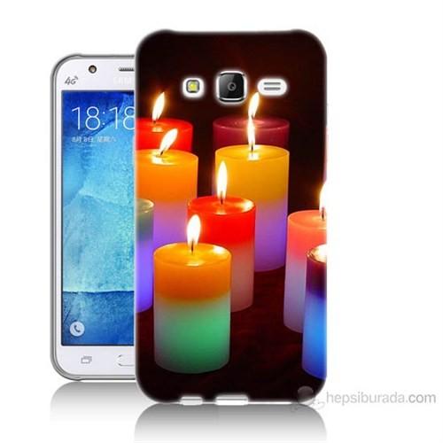 Teknomeg Samsung Galaxy J7 Kapak Kılıf Mumlar Baskılı Silikon