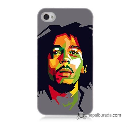 Teknomeg İphone 4S Kapak Kılıf Bob Marley Baskılı Silikon