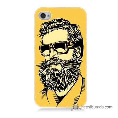 Teknomeg İphone 4S Kapak Kılıf Mustache Baskılı Silikon