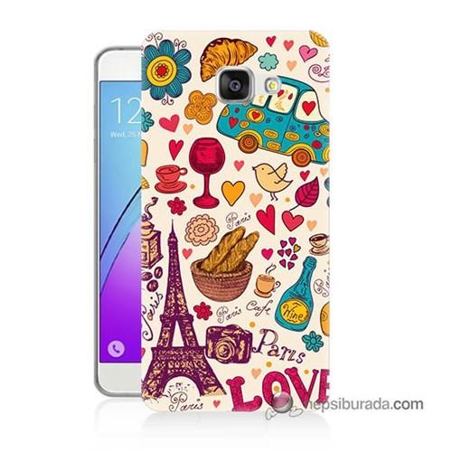 Teknomeg Samsung Galaxy A3 2016 Kapak Kılıf Paris Love Baskılı Silikon