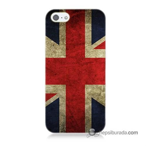 Teknomeg İphone 5 Kapak Kılıf İngiltere Bayrağı Baskılı Silikon