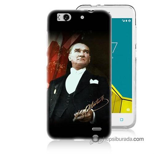 Teknomeg Vodafone Smart 6 Kapak Kılıf M.K.Atatürk Baskılı Silikon