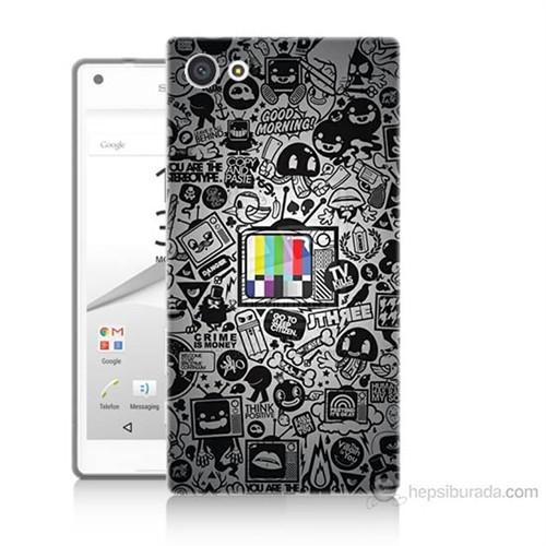 Teknomeg Sony Xperia Z5 Mini Renkli Tv Baskılı Silikon Kılıf