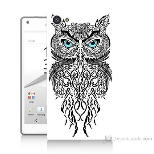 Teknomeg Sony Xperia Z5 Mini Örgülü Baykuş Baskılı Silikon Kılıf
