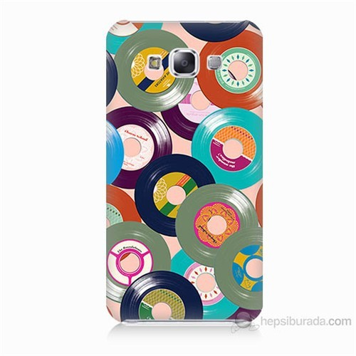 Teknomeg Samsung Galaxy E7 Renkli Plaklar Baskılı Silikon Kılıf