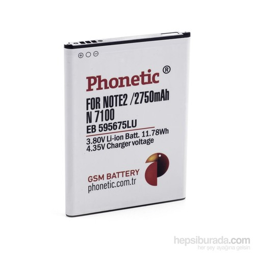 Phonetic Samsung Galaxy Note 2 N7100 Batarya 3100 Mah