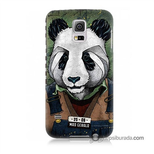 Teknomeg Samsung Galaxy S5 Mini Kapak Kılıf İşçi Panda Baskılı Silikon