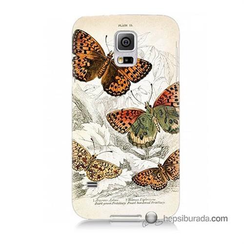 Teknomeg Samsung Galaxy S5 Mini Kapak Kılıf Kelebekler Baskılı Silikon
