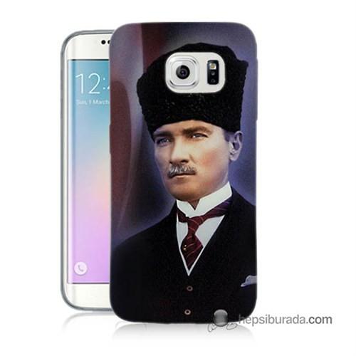 Teknomeg Samsung Galaxy S6 Edge Kılıf Kapak Mustafa Kemal Atatürk Baskılı Silikon