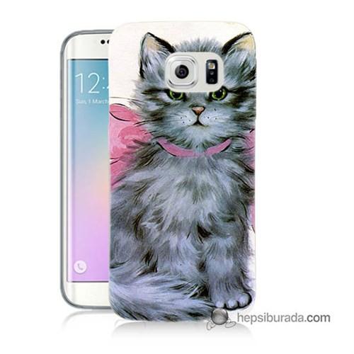 Teknomeg Samsung Galaxy S6 Edge Plus Kılıf Kapak Papyonlu Kedi Baskılı Silikon