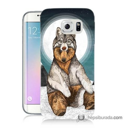 Teknomeg Samsung Galaxy S6 Edge Plus Kapak Kılıf Postlu Ayı Baskılı Silikon