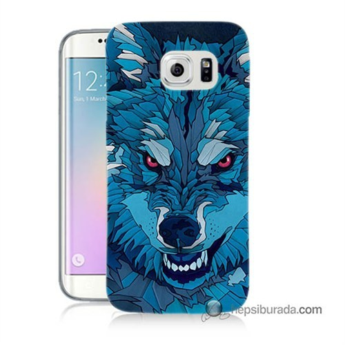 Teknomeg Samsung Galaxy S6 Edge Plus Kılıf Kapak Mavi Kurt Baskılı Silikon