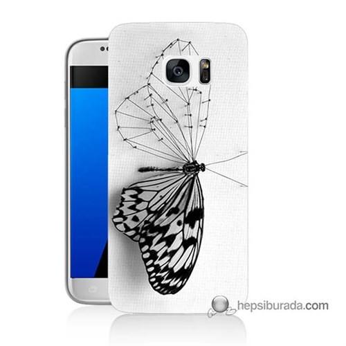 Teknomeg Samsung Galaxy S7 Kapak Kılıf Kanatsız Kelebek Baskılı Silikon