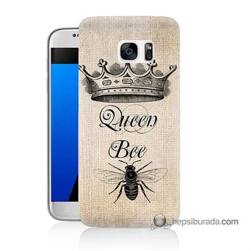 Teknomeg Samsung Galaxy S7 Kılıf Kapak Queen Bee Baskılı Silikon