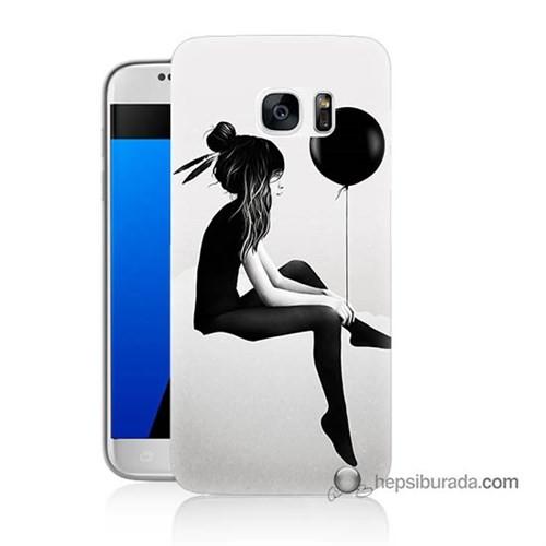 Teknomeg Samsung Galaxy S7 Kapak Kılıf Balonlu Kız Baskılı Silikon