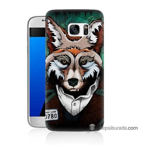 Teknomeg Samsung Galaxy S7 Kılıf Kapak Bad Wolf Baskılı Silikon
