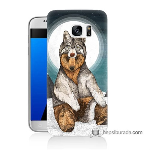 Teknomeg Samsung Galaxy S7 Kapak Kılıf Postlu Ayı Baskılı Silikon
