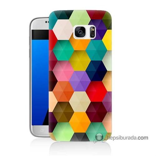 Teknomeg Samsung Galaxy S7 Kapak Kılıf Renkli Petek Baskılı Silikon