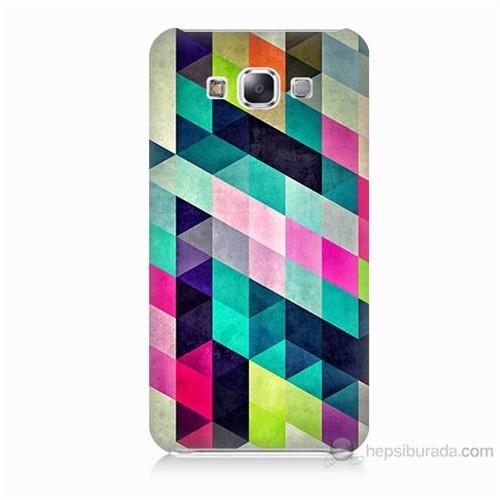 Teknomeg Samsung Galaxy E5 Mozaikler Baskılı Silikon Kılıf