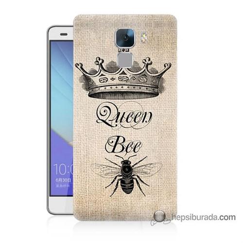 Teknomeg Huawei Honor 7 Kılıf Kapak Queen Bee Baskılı Silikon