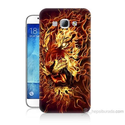 Teknomeg Samsung Galaxy A8 Ateşli Aslan Baskılı Silikon Kılıf