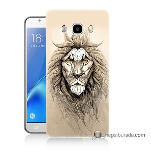 Teknomeg Samsung J5 2016 Kılıf Kapak Beyaz Aslan Baskılı Silikon