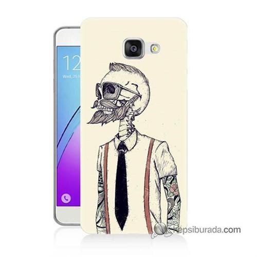 Teknomeg Samsung Galaxy A3 2016 Kapak Kılıf Dövmeli İskelet Baskılı Silikon