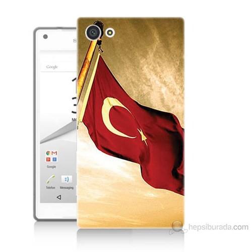 Teknomeg Sony Xperia Z5 Türk Bayrağı Baskılı Silikon Kılıf