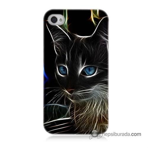 Teknomeg İphone 4 Kapak Kılıf Dumanlı Kedi Baskılı Silikon