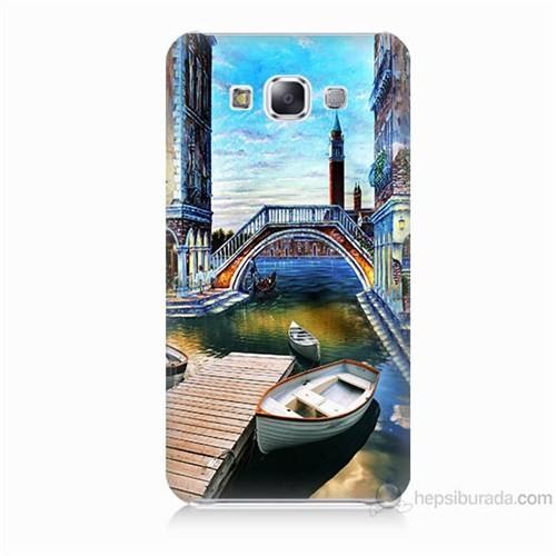 Teknomeg Samsung Galaxy E7 Kapak Kılıf Tekneler Tablo Baskılı Silikon