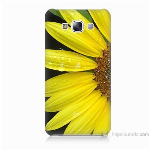 Teknomeg Samsung Galaxy E7 Kapak Kılıf Sarı Çiçek Baskılı Silikon