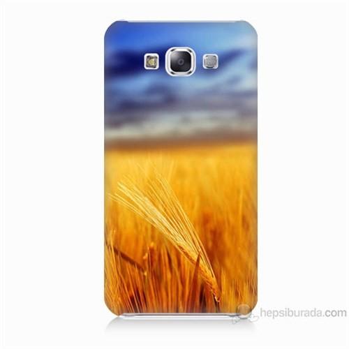 Teknomeg Samsung Galaxy E7 Kapak Kılıf Sarı Mavi Baskılı Silikon