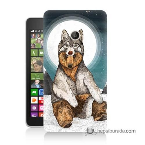 Teknomeg Nokia Lumia 535 Kapak Kılıf Postlu Ayı Baskılı Silikon