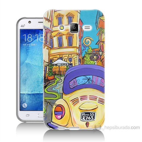 Teknomeg Samsung Galaxy J7 Kapak Kılıf Sarı Wolsvagen Baskılı Silikon