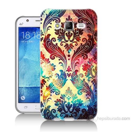 Teknomeg Samsung Galaxy J7 Kapak Kılıf Çiçek Motifi Baskılı Silikon