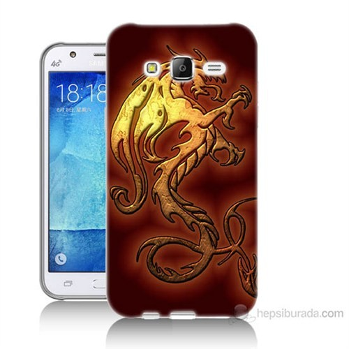 Teknomeg Samsung Galaxy J7 Kapak Kılıf Dragon Baskılı Silikon