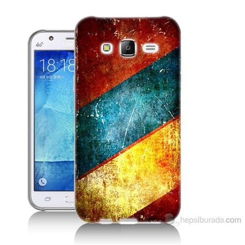 Teknomeg Samsung Galaxy J7 Kapak Kılıf Renkli Metal Baskılı Silikon