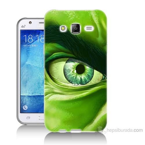 Teknomeg Samsung Galaxy J7 Kapak Kılıf Hulk Yeşil Dev Baskılı Silikon