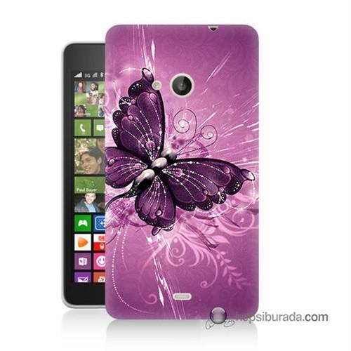 Teknomeg Nokia Lumia 535 Kılıf Kapak Mor Kelebek Baskılı Silikon
