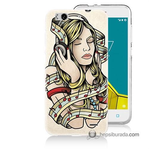 Teknomeg Vodafone Smart 6 Kapak Kılıf Müzik Aşkı Baskılı Silikon