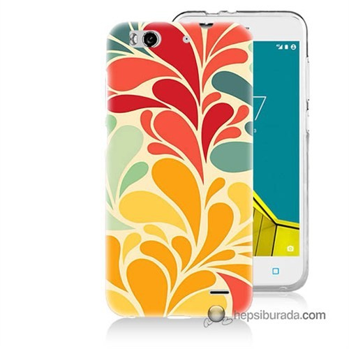 Teknomeg Vodafone Smart 6 Kapak Kılıf Çiçekler Baskılı Silikon