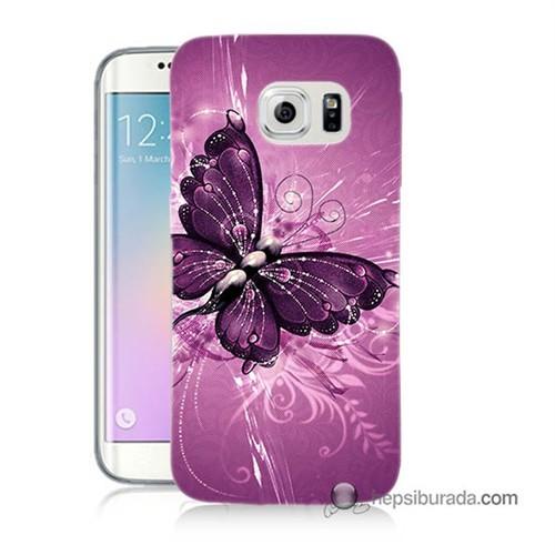 Teknomeg Samsung Galaxy S6 Edge Plus Kılıf Kapak Mor Kelebek Baskılı Silikon