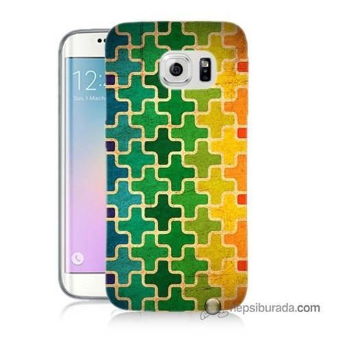 Teknomeg Samsung Galaxy S6 Edge Plus Kapak Kılıf Renkli Artı Baskılı Silikon