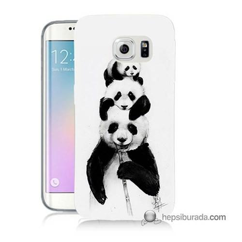 Teknomeg Samsung Galaxy S6 Edge Plus Kapak Kılıf Panda Ailesi Baskılı Silikon