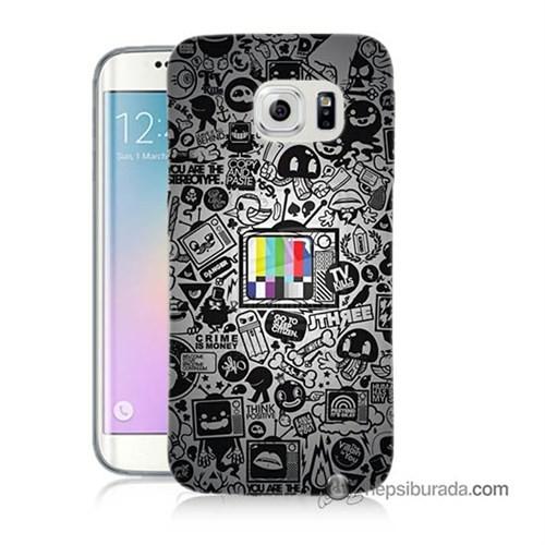 Teknomeg Samsung Galaxy S6 Edge Plus Kapak Kılıf Renkli Tv Baskılı Silikon