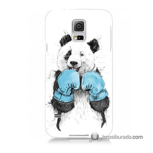 Teknomeg Samsung Galaxy S5 Kılıf Kapak Boksör Panda Baskılı Silikon