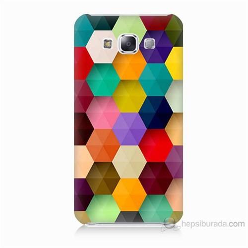 Teknomeg Samsung Galaxy E5 Renkli Petek Baskılı Silikon Kılıf